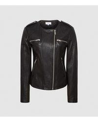 Reiss Leather Collarless Biker Jacket - Black