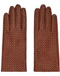 Reiss Leather Woven Gloves - Brown