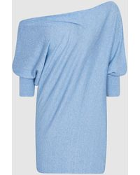 Reiss Flo - Linen Cotton Blend Asymmetric Top - Blue