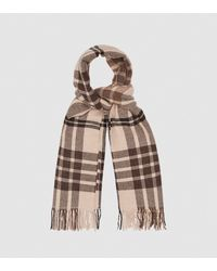 Reiss Steph - Wool Checked Scarf - Natural