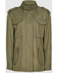 Reiss Nia - Twill Utility Jacket - Green