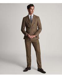 Reiss Latte - Wool Slim Fit Trousers - Brown