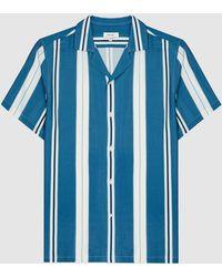Reiss Monroe - Striped Cuban Collar Shirt - Blue