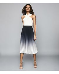 Reiss Mila - Ombre Pleated Midi Skirt - Black