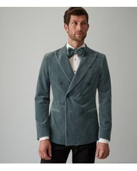 Reiss Studio - Velvet Double Breasted Blazer - Azul