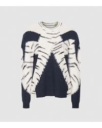 Reiss Tiffany - Color Block Knitted Sweater - Blue