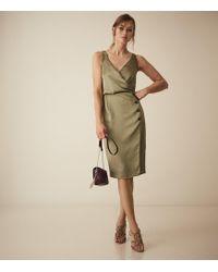 Reiss Button Detail Dress - Green