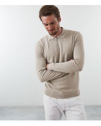 Reiss - Goldmire - Half Zip Polo Shirt - Lyst
