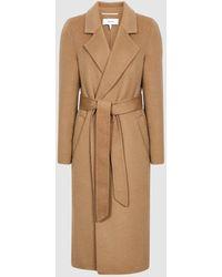 Reiss Brooks Petite - Wool Blend Longline Overcoat Petite - Natural