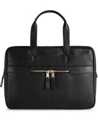 Reiss Pebbled Leather Briefcase - Black