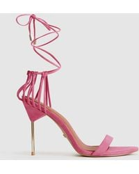 44f89765875 Zhane - Suede Strappy Wrap Sandals - Pink