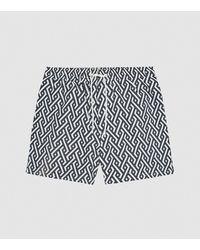 Reiss Clifford - Geo Print Swim Shorts - Blue