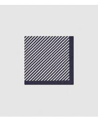 Reiss Arles - Striped Seersucker Pocket Square - Blue