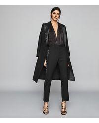 Reiss Long Sleeved Plunge Bodysuit - Metallic