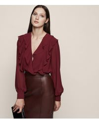 Reiss | Goldie Ruffle Shoulder Blouse | Lyst