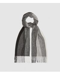 Reiss Meads - Wool Cashmere Blend Scarf - Gray