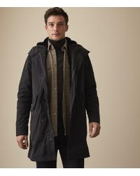 Reiss Kielder - Longline Hooded Coat - Azul