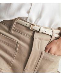 Reiss Molly - Mini Leather Belt - White