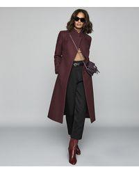 Reiss Mason - Wool Blend Longline Coat - Multicolour
