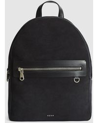 Reiss Ethan - Suede Backpack - Blue