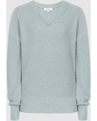 Reiss V-neck Ribbed Sweater - Blue