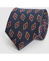 Reiss Silk Diamond Tie - Blue