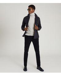 Reiss Scott - Textured Jersey Overshirt - Blue