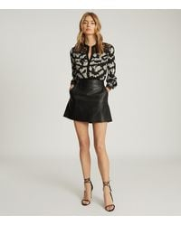 Reiss Ana - Printed Blouse With Lace Detailing - Black