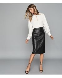 Reiss Kai - Leather Pencil Skirt - Black