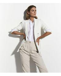 Reiss Linen Blend Cargo Trousers In - Natural
