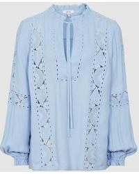 Reiss Dottie - Lace Detail Blouse - Blue