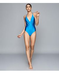 Reiss Cut Out Back Swimsuit - Blue