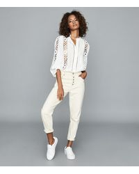 Reiss Aliyah - Lace Detail Blouse - White