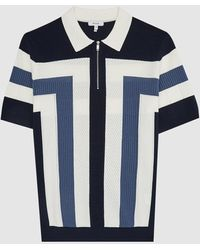 Reiss Breaker - Color Block Zip Neck Polo Shirt - Blue