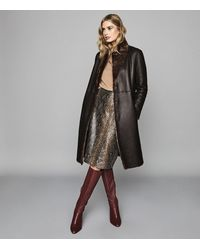 Reiss Joy - Shearling Reversible Coat - Brown