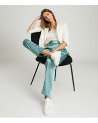 Reiss Elyssah - Satin Pleated Trousers - Blue