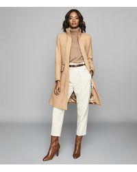 Reiss Macey - Wool Blend Mid Length Coat - Natural
