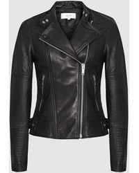 Reiss Tallis - Leather Biker Jacket - Black