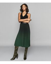 Reiss Marlie - Ombre Pleated Midi Skirt - Green