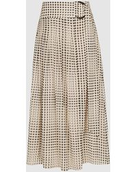 Reiss Jorja - Pleated Skirt With D-ring Belt - Multicolor