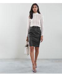 Reiss - Kara - Leather Pencil Skirt - Lyst