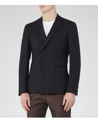 Reiss Curtis B - Wool Double-breasted Blazer - Azul