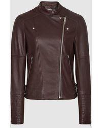 Reiss Tallis - Leather Biker Jacket - Brown