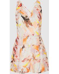 Reiss Floripa - Floral-print Linen Playsuit - Multicolor