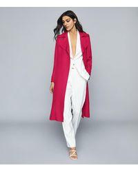 Reiss Lianna - Linen Blend Duster Coat - Multicolour