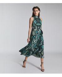 Reiss Eddie - Printed Midi Dress - Green