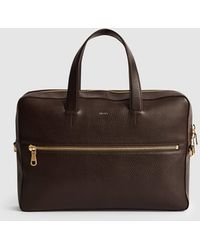 Reiss Leather Laptop Carrier - Brown