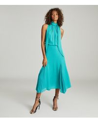 Reiss Jenna - Neck-tie Detail Midi Dress - Blue