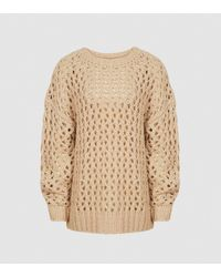 Reiss Natalie - Open-knit Oversized Sweater - Natural