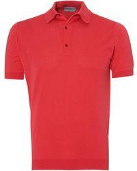 John Smedley - Adrian Polo Shirt, Sea Island Cotton Ruche Red Polo - Lyst